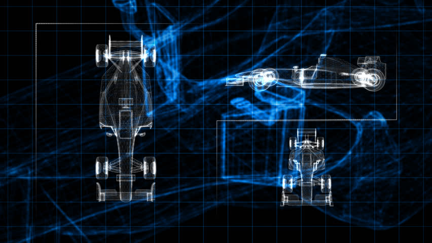 Screen panel of wireframe racing car. | Shutterstock HD Video #3931067