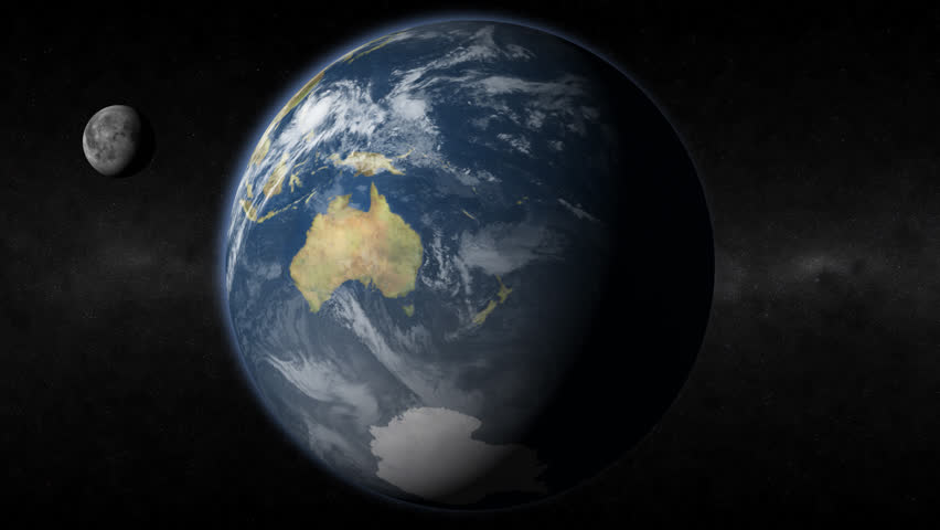 This HD realistic earth revolves slowly showing Australia and the moon.