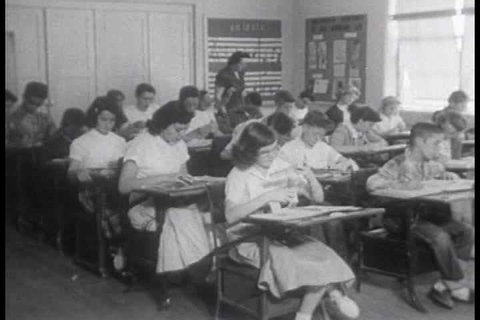 1950s - The many ways newspapers are used in school from art material to research