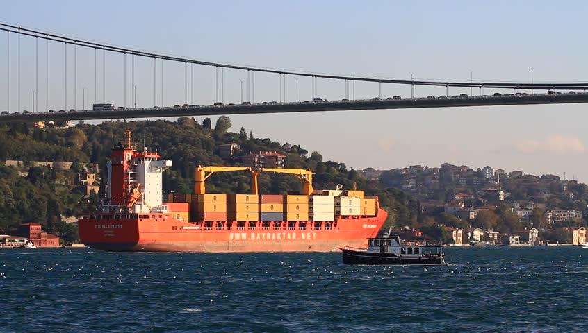 ISTANBUL - OCT 26: Cargo Ship AYSE NAZ BAYRAKTAR (IMO: 9397420, Turkey) on Oct