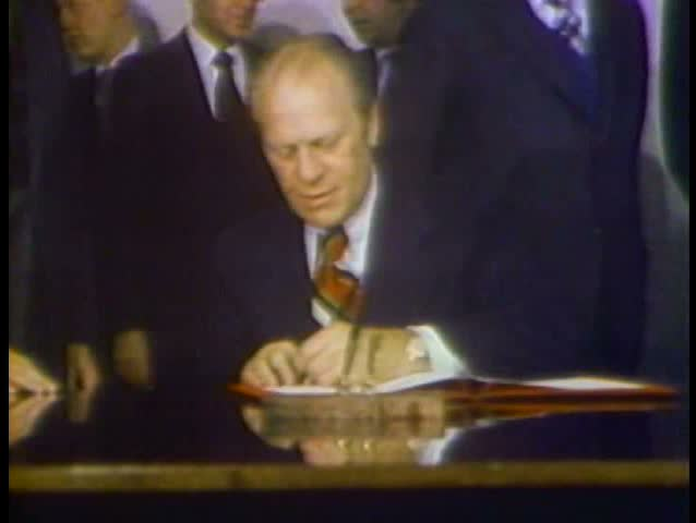 1980s - Gerald Ford signs the Helsinki Accords with Leonid Brezhnev in 1975.