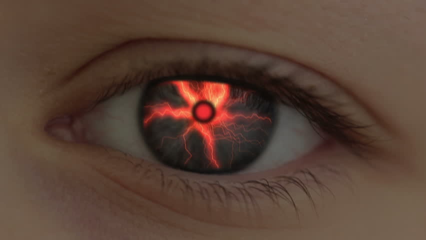 The human eye is transformed into the eye of the beast. Lightning are flashing. Hell-fire is lit