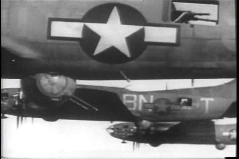 1940s - American men go on a bombing mission over Germany in World War two.
