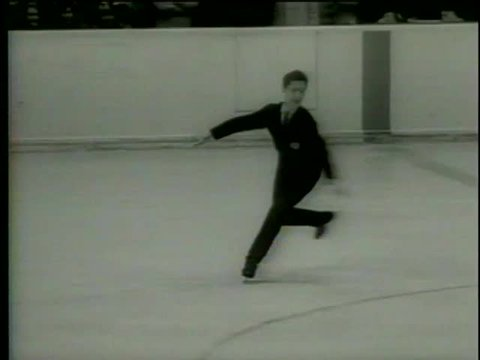 American figure skater Scott Allen performs during IX Olympic Winter Games in Innsbruck, Austria circa 1964-MGM PICTURES, UNIVERSAL-INTERNATIONAL NEWSREEL, USA, filmed in 1964
