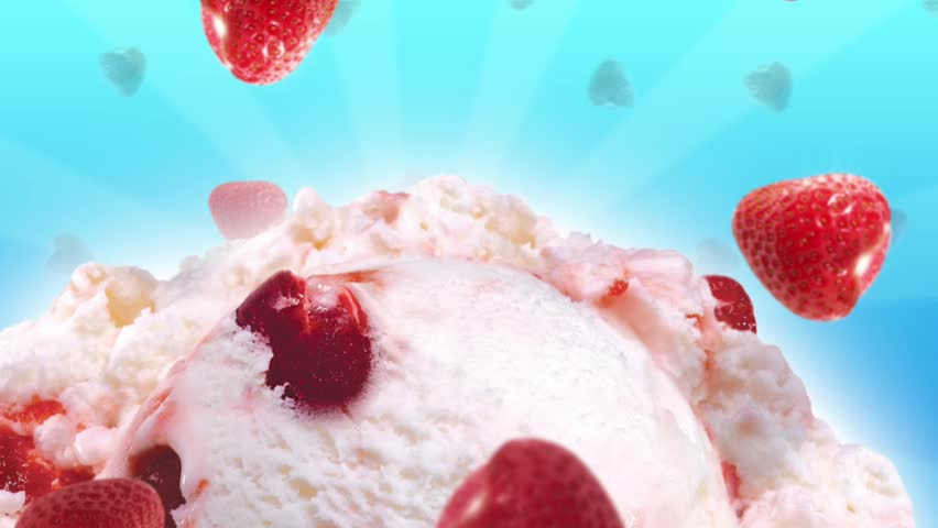 Yummy ice cream with slow falling strawberries