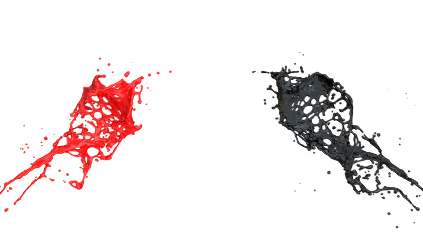 red paint splashes in slow motion, isolated on white (full hd