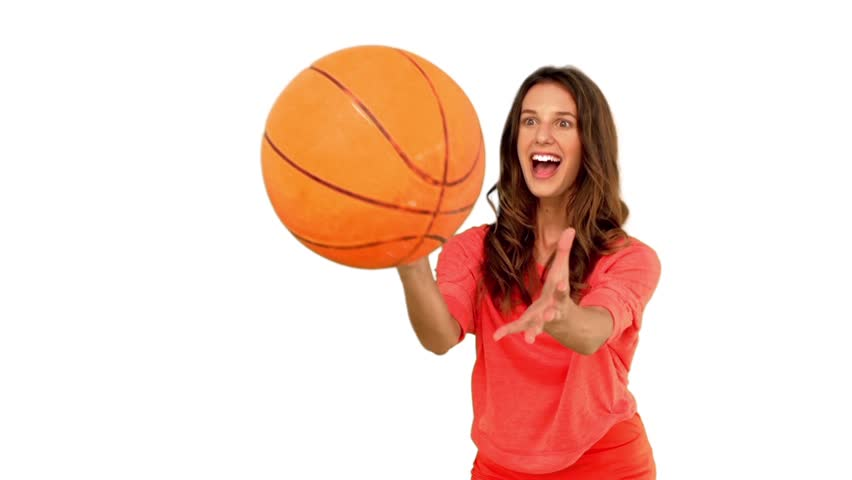 A Woman Playing Basketball Imágenes De Stock A Woman: Woman Catching A Basketball On Green Screen In Slow Motion