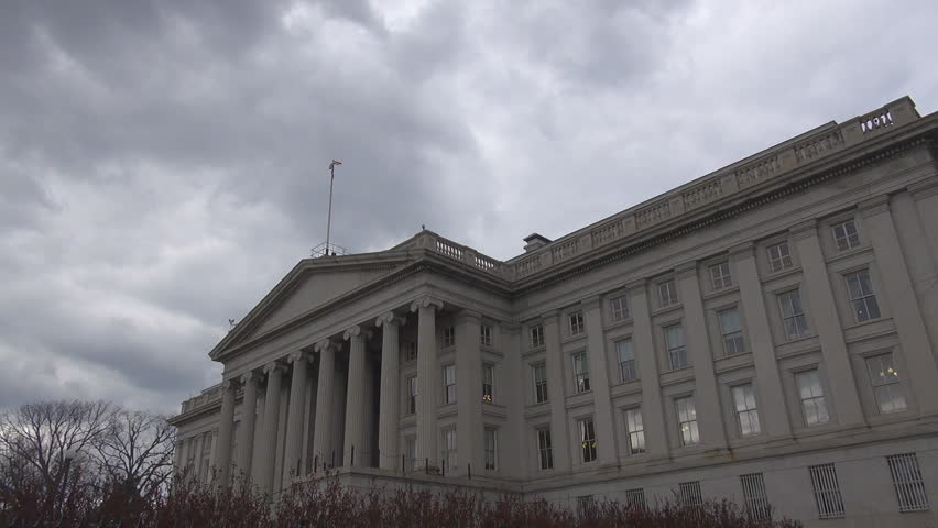 The United States Treasury Department in cloudy day, Washington DC, USA