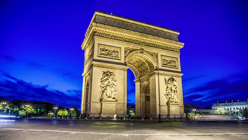 PARIS - CIRCA OCTOBER, 2012: Arc de Triomphe from day to night in Paris. Arc de Triomphe is one of the most famous monuments in Paris, France, in the centre of the Place Charles de Gaulle.   Shutterstock HD Video #4060174