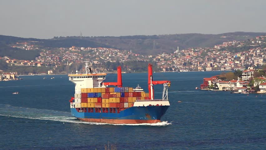 Cargo Container ship at Straits Bosporus Sea.