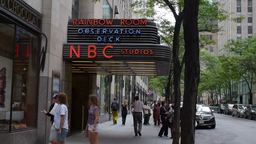 NEW YORK CITY, Circa June, 2013 - An establishing shot of the NBC Studios entrance in Rockefeller Center.