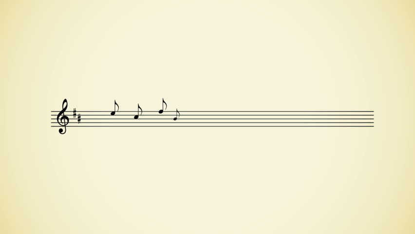 Musical Notes Motion Media Animation. Isolated on a plain background, musical notes come up animating across the lines.
