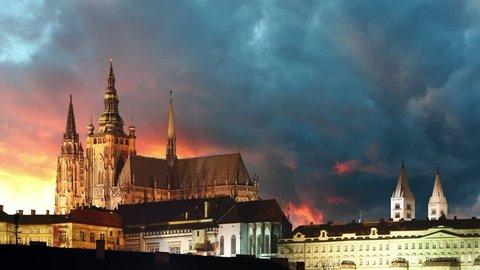 Prague castle at sunrise - time lapse