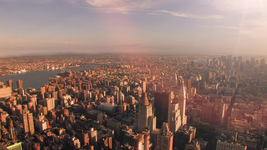 overlooking downtown new york sunset time lapse