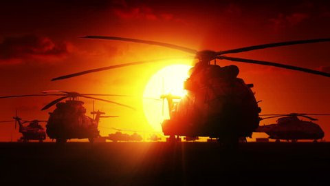 Helicopters at sunrise