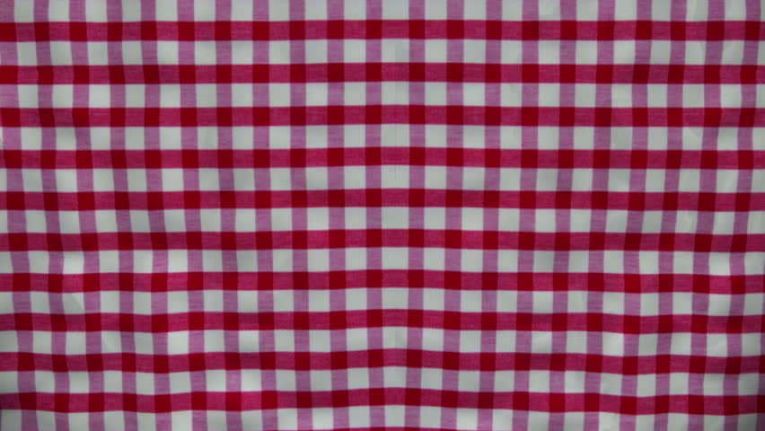 Gingham striped curtain opens. Comes with the Alpha Matte.
