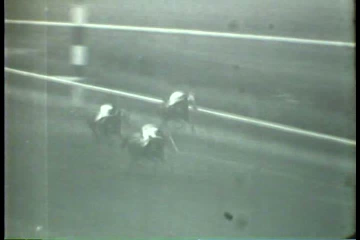 1930s - Black and white footage of a horse race in the 1930s