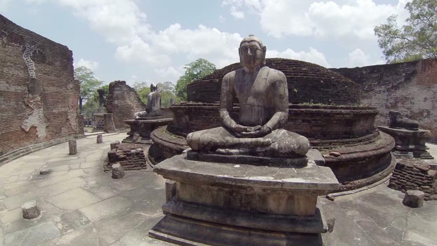 Video 1920x1080p - Interior of an abandoned ancient Buddhist temple. Sri Lanka