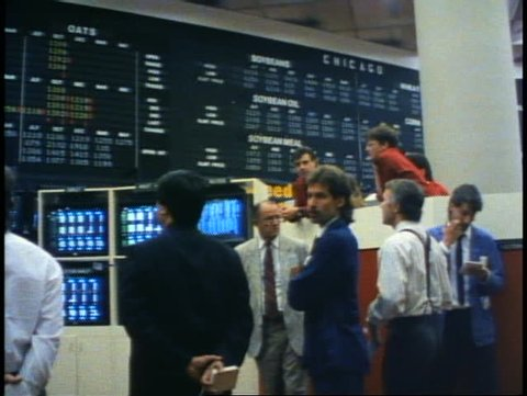 WINNIPEG, MANITOBA - CANADA - CIRCA - 1990: Winnipeg Commodities Exchange, brokers, traders, stockbrokers, Manitoba, Canada