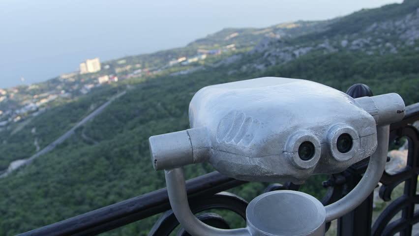 Binocular Tower Viewer in Observation Stock Footage Video ...
