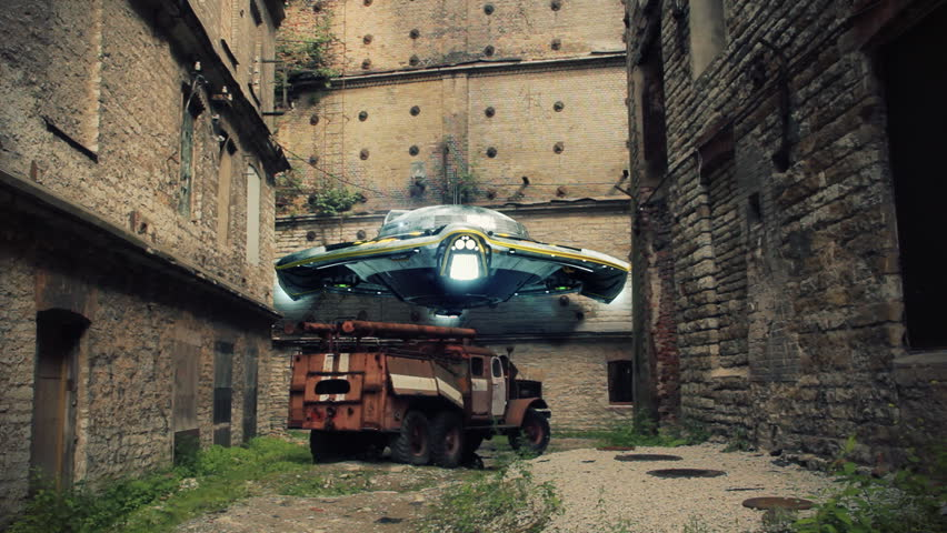 UFO is scanning environment around post-apocalyptic ruins