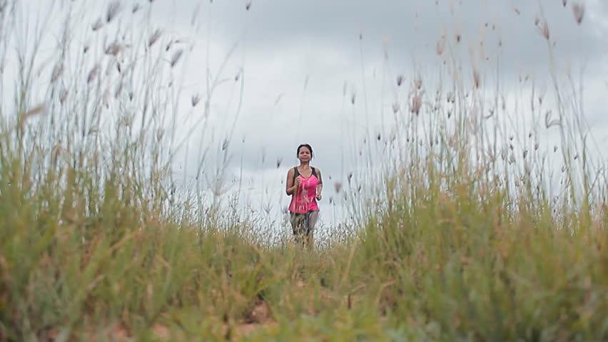 Woman Running In Field | Shutterstock HD Video #4226047
