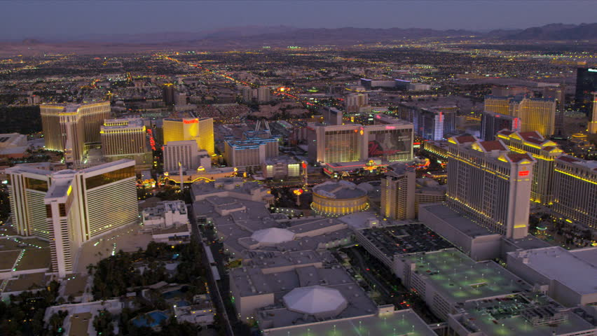 Las Vegas - January 2013: Aerial view Las Vegas Strip Hotels and Casinos, Las Vegas, Nevada, USA, RED EPIC | Shutterstock HD Video #4243817