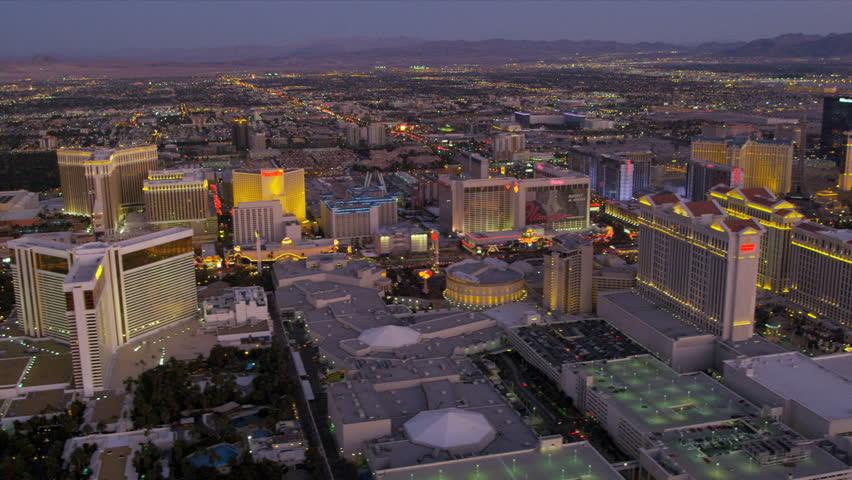 Las Vegas - January 2013: Aerial view Las Vegas Strip Hotels and Casinos, Las Vegas, Nevada, USA, RED EPIC | Shutterstock HD Video #4243817