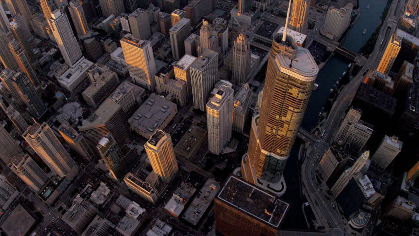 Aerial vertical view Chicago city skyscrapers Trump Tower at sunset downtown, Chicago, Illinois, USA, shot on RED EPIC