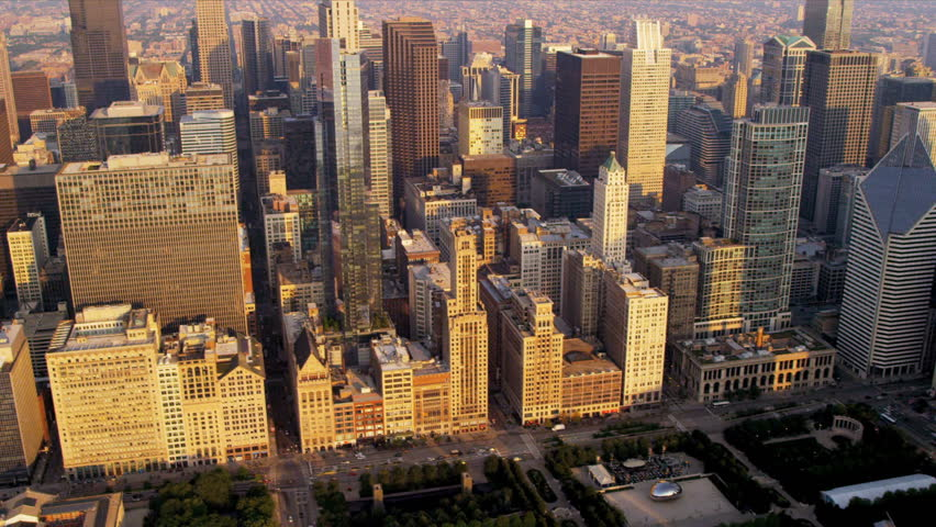 Aerial cityscape sunrise view of Cloud Gate, Bean and popular Chicago buildings downtown Chicago, Illinois, USA, shot on RED EPIC | Shutterstock HD Video #4249367
