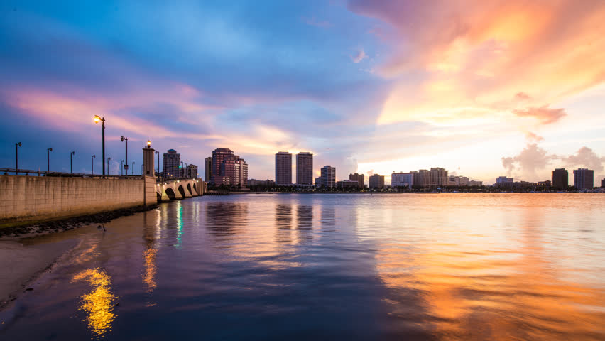 West Palm beach, Florida at sunset time lapse.