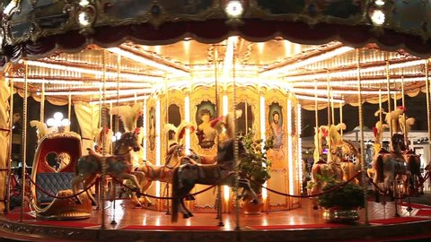Merry-go-round carousel at night