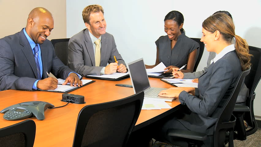 Smart female ethnic business executive chairing meeting multi ethnic colleagues | Shutterstock HD Video #4287167