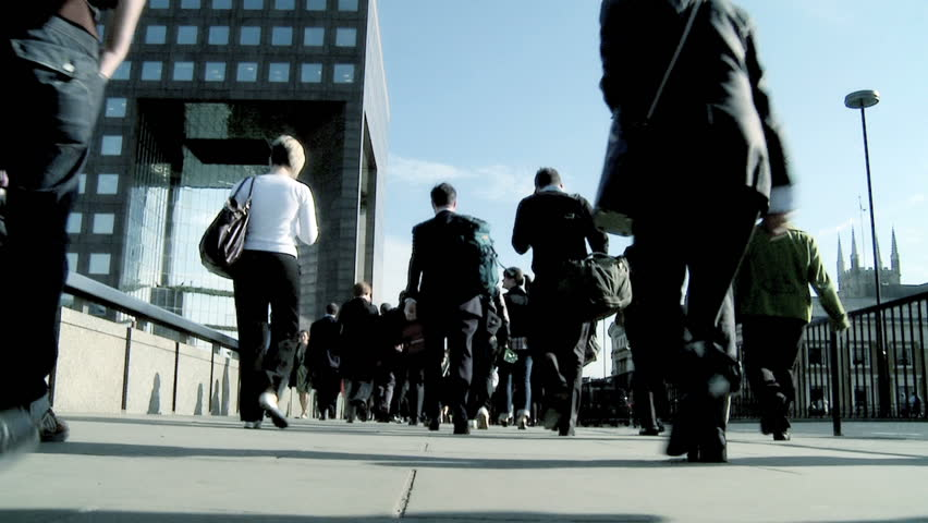 City commuters in slow motion