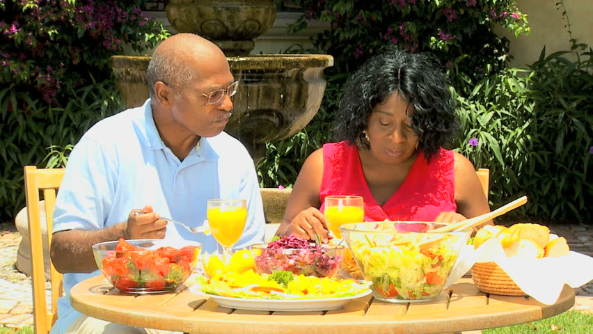 Mature African American Couple Eating Sensible Healthy -8076