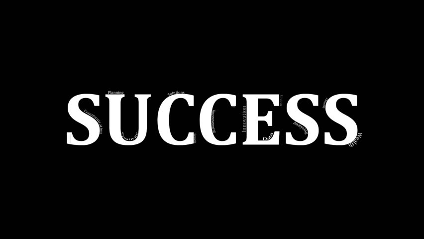 "This video starts off with an extreme close up of business related words associated with success in the workplace. At the end the camera reveals that the words are placed on top of the word ""success""."