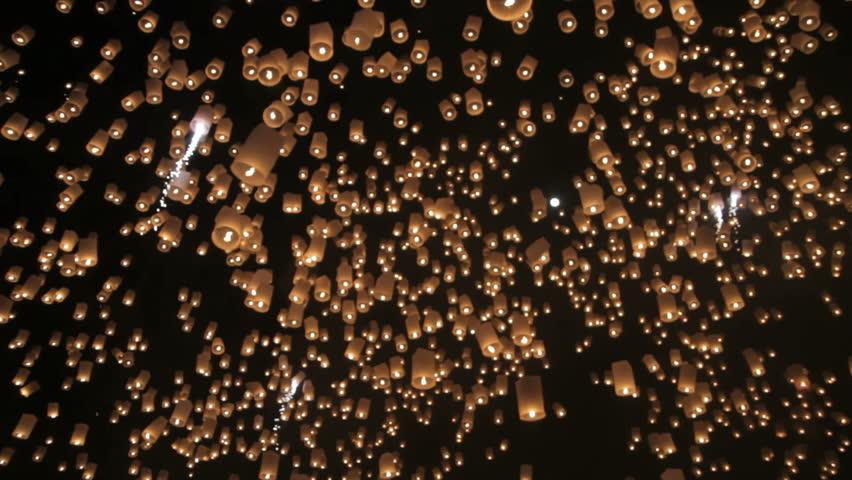 Loi Krathong festival in Chiang Mai Thailand  | Shutterstock HD Video #4327925