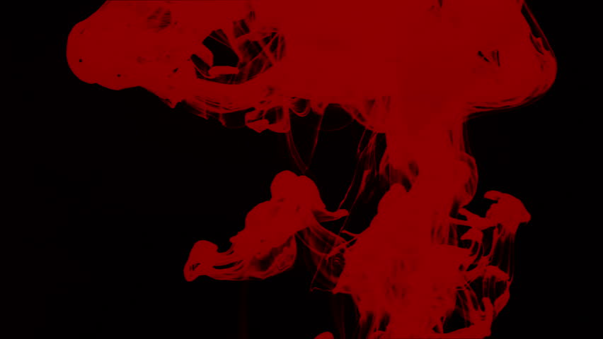 Red ink dissolving in water like blood against black background | Shutterstock HD Video #4331087