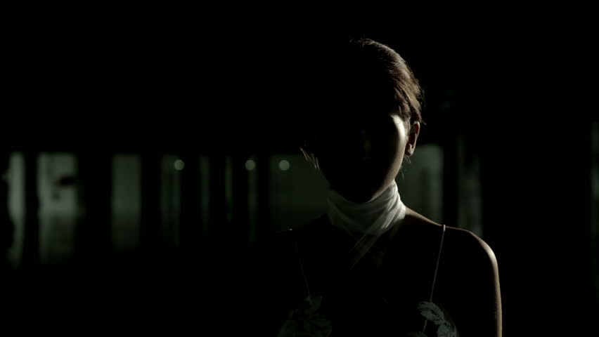 A medium shot of a beautiful mysterious woman is facing the camera as a silhouette with a rim light. Some camera flashes goes off during the video, but they never reveal her face.