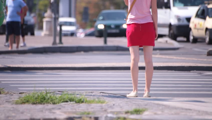 Bluejeans Shorts Long Naked Legs Young Adult Woman Walking Voyeur Point Of View -6012