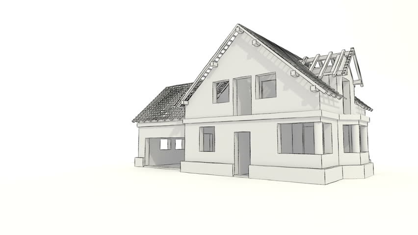 Architect Sketch Of The House Hand Drawing Stock Footage Video