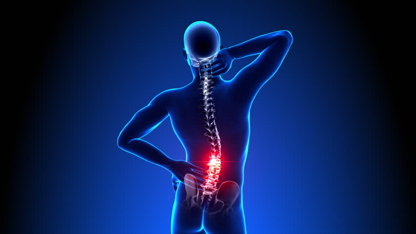 Hurt Spine - Male Backbone - Backache, Headache - Vertebrae Pain
