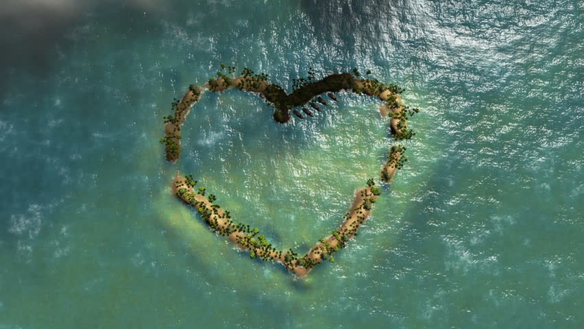 Heart shaped island and aircraft flying, travel background