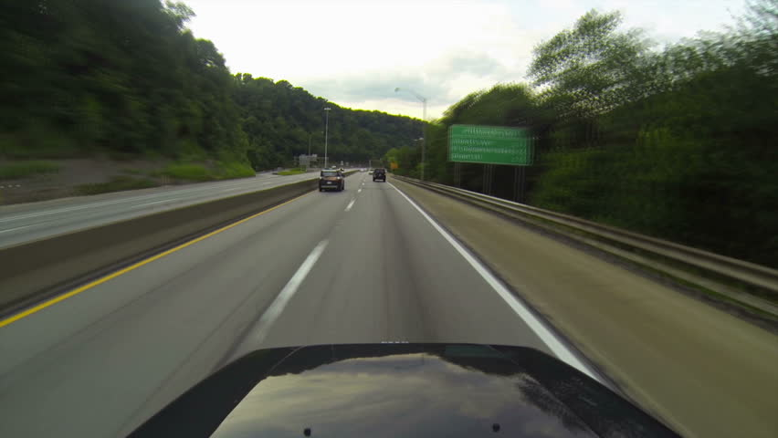 A high-angle time lapse drive into downtown Pittsburgh, Pennsylvania.