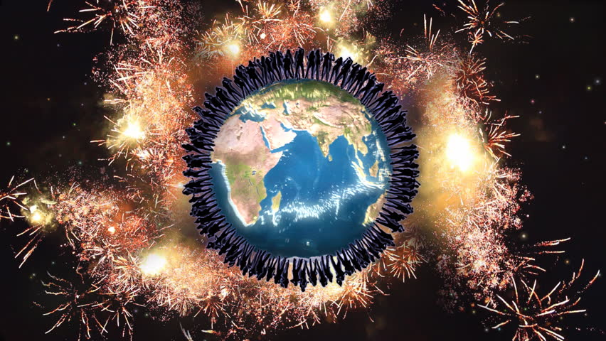 People dancing together around shining Earth with fireworks over them. Earth map courtesy of NASA.