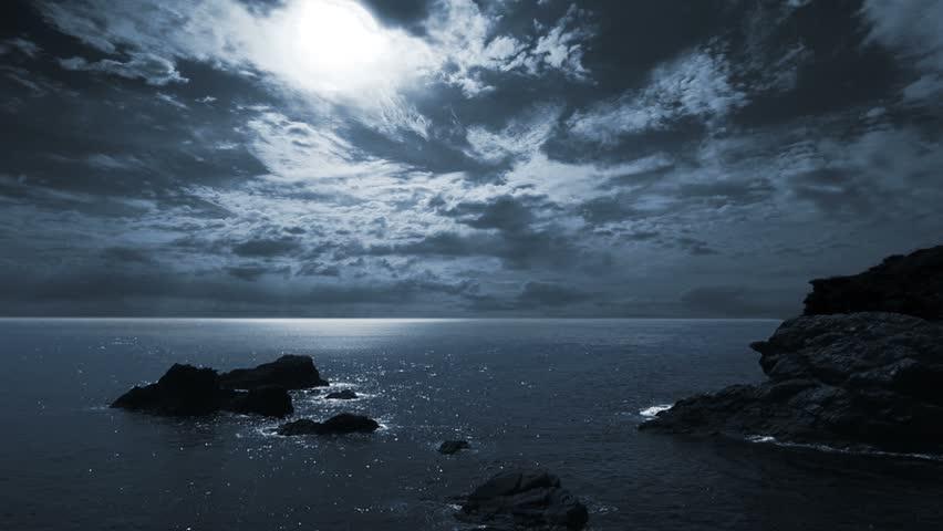 Full moon night seascape/landscape.