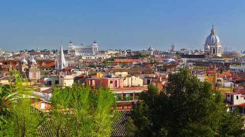 Rome skyline, panning shot. Italy.