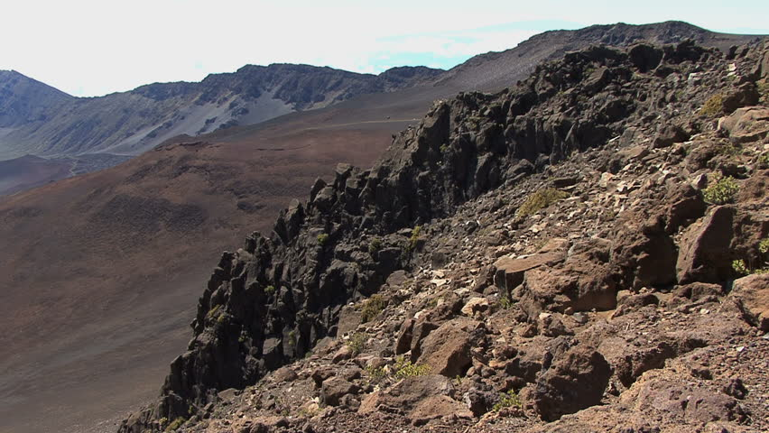 October 2011 hawaii view from haleakala volcano stock footage maui haleakala crater with lava spine hd stock footage clip publicscrutiny Image collections