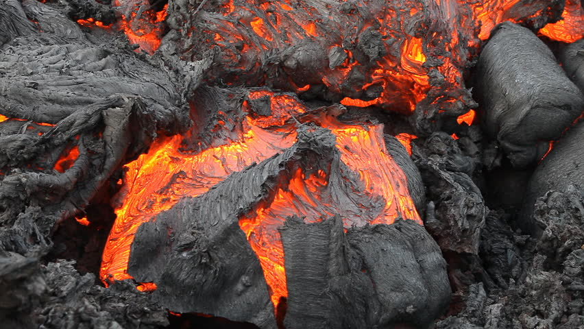 Lava flow of a volcano   on Kamchatka