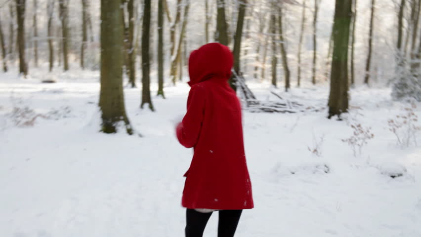 Little Red Riding Hood - Young Girl In Red Coat Stands Out Against ...